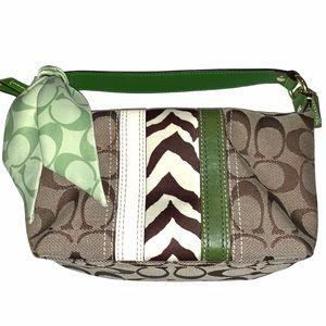 Coach tan signature print hand bag w green leather